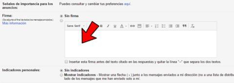 Poner una firma en el correo electrónico