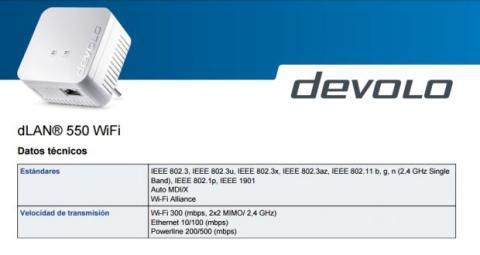 Especificaciones Devolo dLAN 550 WiFi