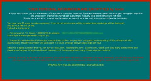 Nota de rescate de ransomware