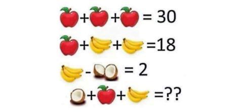 Acertijo de Facebook de sumar frutas
