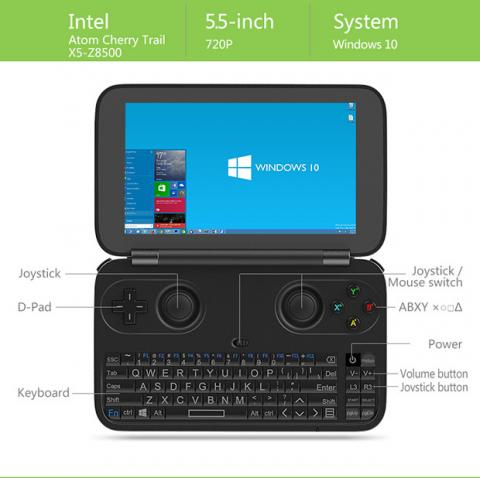 Ordenador de bolsillo con Windows 10 y controles para gamers