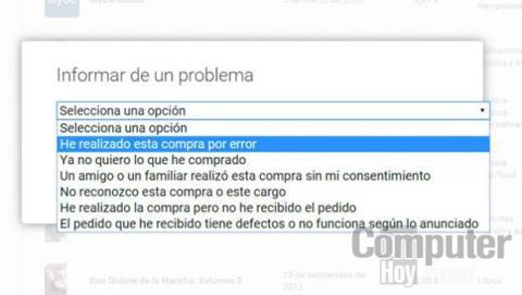 Indica un motivo para la devolución del contenido de Google Play