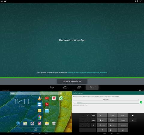 Aplicación de WhatsApp en la tablet