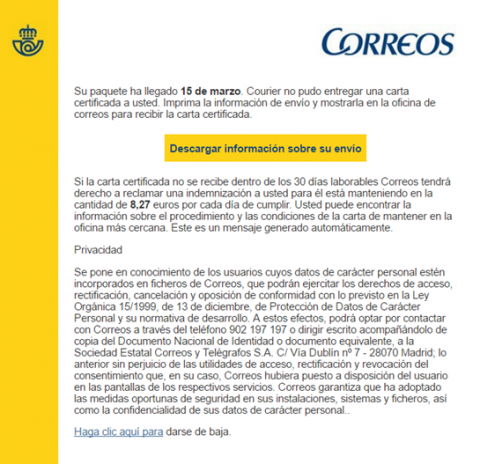 Campaña de phishing suplanta la identidad de Correos