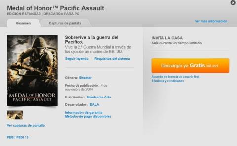 Descarga gratis Medal of Honor Pacific Assault para PC