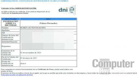 Cuando se complete este proceso de verificación de los certificados de tu DNI, se mostrarán en pantalla los detalles del certificado que corrobora tu identidad.