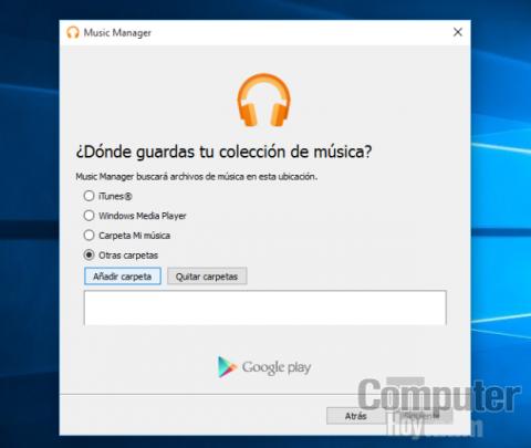 Music Manager es capaz de reconocer automáticamente donde se guarda la música