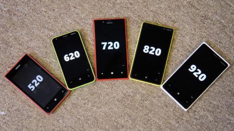 Diferentes modelos de teléfonos Lumia