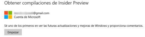 Obtener compilaciones de Insider en Windows 10