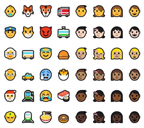 Nuevos emoticonos Windows 10 Build 14316