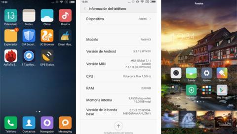 Capturas de pantalla del Xiaomi Redmi 3
