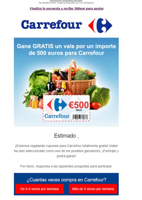 Cupón falso de Carrefour