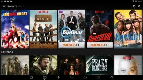 Interfaz de Netflix en TenGO micropc 80QC