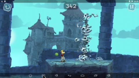 Jugando al Rayman adventures en el TenGO micropc 80QC