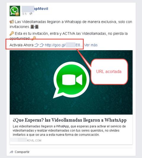 Estafa videollamadas Whatsapp