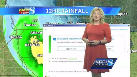 La actualización de Windows 10 interrumpe una emisión de TV