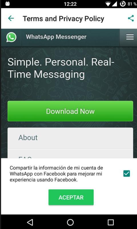 Compartir información de Whatsapp con Facebook