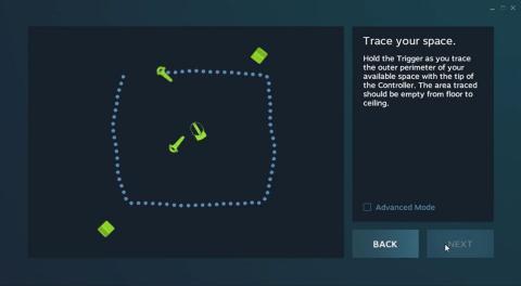 Configuración de la habitación de las HTC vive
