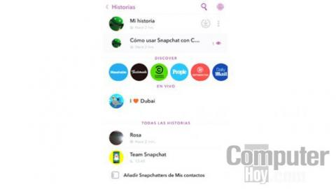 En esta pantalla verás las historias recientes de tus amigos, tus propias historias o acceder a las de los canales de empresas que están presentes en Snapchat.