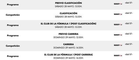 Horarios GP Monaco F1 2016