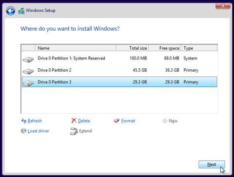 Seleccionar unidad instalacion Windows 10