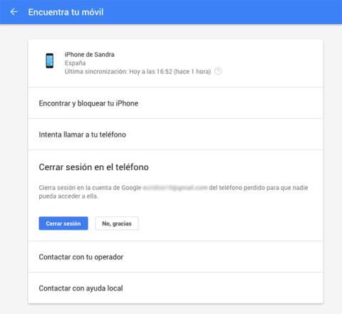 Encuentra tu móvil con Google