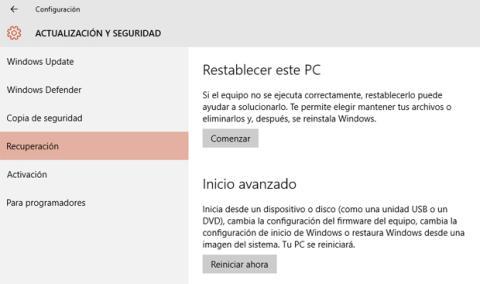 Opciones para restablecer Windows 10