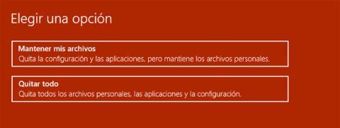 Opciones para restaurar un PC en Windows 10
