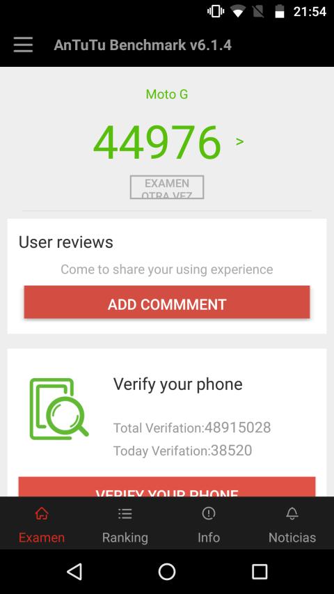 Pruebas de rendimiento y benchmarks del Moto G4