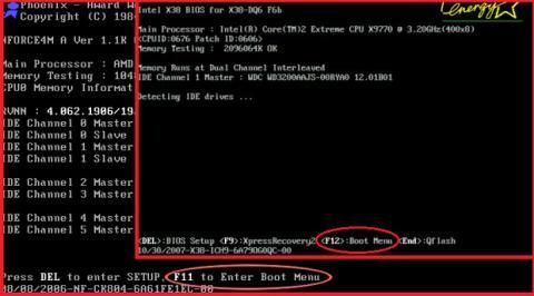 Acceder al Boot Menu de la BIOS
