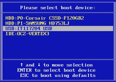 Boot Menu BIOS