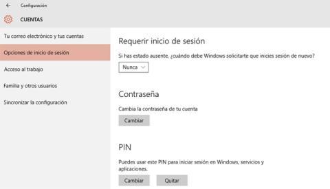 Inicio de sesión tras ausente Windows 10