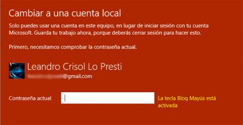 Cambiar a cuenta local en Windows 10