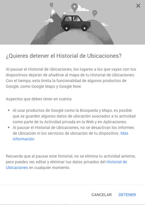 Desactiva el historial de ubicaciones