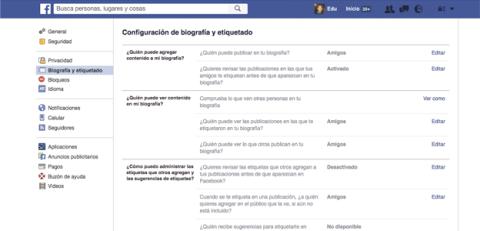 Bloquea las etiquetas en publicaciones de Facebook