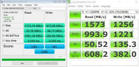 Benchmarks del SSD principal del Acer Predator 15