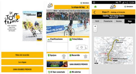 Interfaz app oficial Tour Francia