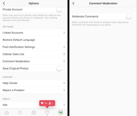 Configuración opción de moderación de comentarios
