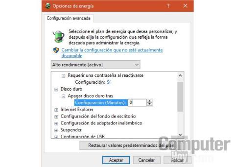 Opciones de energia SSD Windows 10