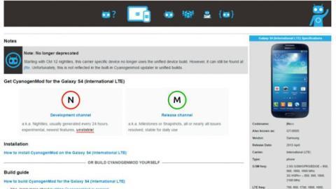 accede a la opción Device Wiki para obtener más información sobre cómo instalar la ROM en ese dispositivo