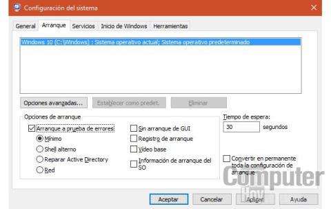 Modo a prueba de errores Windows 10