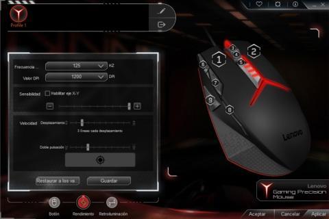 Rendimiento del Lenovo gaming mouse