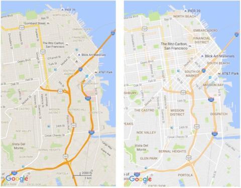 Cambio de look más limpio en Maps
