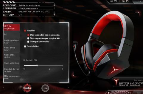 captura del apartado de iluminación en el Lenovo Y gaming surround headset