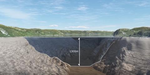 Detalle del puente sumerigod flotante de noruega