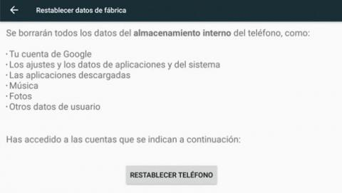 Toca sobre el botón Restablecer teléfono y el dispositivo comenzará el proceso de borrado de todo