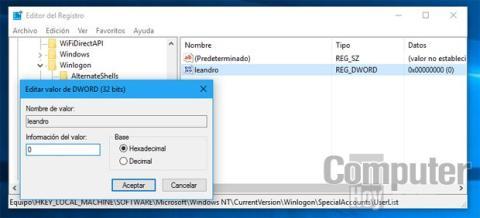 Ocultar cuenta de usuario en Windows 10