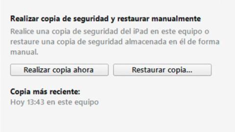 Inicia la copia de seguridad con iTunes