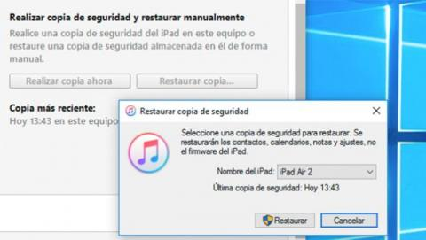 Restaura una copia de seguridad