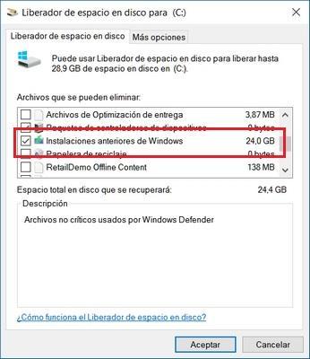 Cómo recuperar 25 GB tras actualizar a Windows 10 Anniversary Update